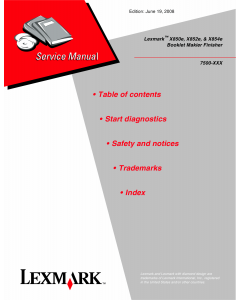 Lexmark X X850e X852e X854e 7500 Service Manual