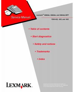 Lexmark X X860de X862de X864deMFP 7500 Service Manual