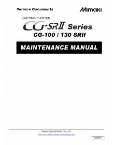 MIMAKI CG SRII 100 130 MAINTENANCE Service Manual