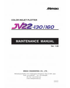 MIMAKI JV22 130 160 MAINTENANCE Service Manual