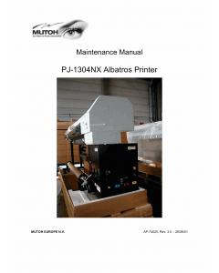 MUTOH PJ 1304NX MAINTENANCE Service Manual