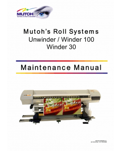 MUTOH RollSystems Winder 30 100 Unwinder Service Manual
