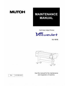 MUTOH ValueJet VJ 1618 MAINTENANCE Service and Parts Manual