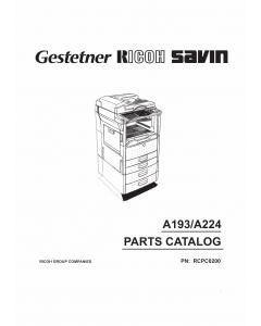 RICOH Aficio 200 250 A193 A224 Parts Catalog
