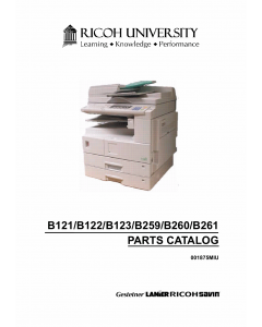 RICOH Aficio 2015 2016 2018 2018d 2020 2020D B121 B122 B123 B259 B260 B261 Parts Catalog