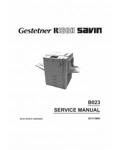 RICOH Aficio 6513 B023 Parts Service Manual