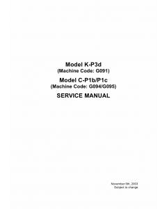 RICOH Aficio AP-400 AP600 AP600N G091 G094 G095 Parts Service Manual