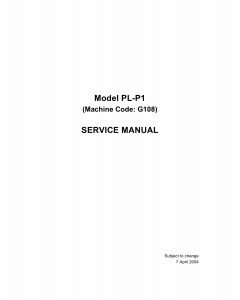 RICOH Aficio CL-1000 G108 Parts Service Manual