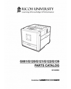 RICOH Aficio CL-2000 2000N 3000 3000E 3500N G081 G092 G120 G121 G122 G123 G139 G149 Parts Catalog
