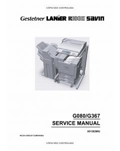 RICOH Aficio CL-7000 7000CMF G080 G367 Service Manual