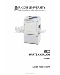 RICOH Aficio DX-3343 3443 C275 Parts Catalog