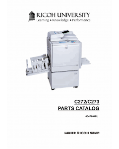 RICOH Aficio DX4545 C272 Parts Catalog
