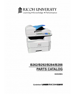 RICOH Aficio MP-161 161F 161SPF B262 B284 B288 B292 Parts Catalog