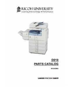 RICOH Aficio MP-2500 D010 Parts Catalog