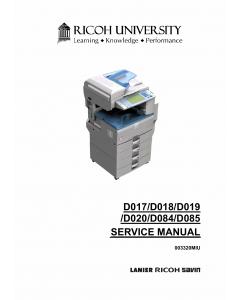 RICOH Aficio MP-2550B 2550SP 3350B 3350SP 2851SP 3351SP D017 D018 D019 D020 D084 D085 Service Manual