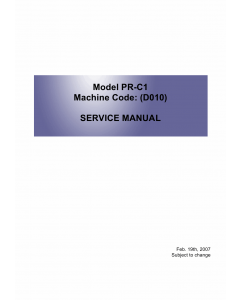 RICOH Aficio MP-2580 MP2500LN 2500 D010 D043 Service Manual