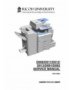 RICOH Aficio MP-4000 4001SP 40001G 5000 5001SP 5001G D009 D011 D012 D013 D091 D092 Service Manual