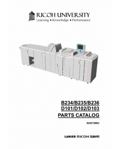 RICOH Aficio MP-9000 1110 1350 906EX 1106EX 1356EX B234 B235 B236 D101 D102 D103 Parts Catalog