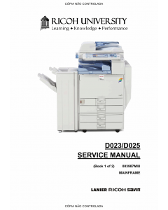 RICOH Aficio MP-C2800 C3300 D023 D025 Service Manual