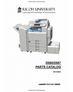 RICOH Aficio MP-C3001 C3501 D086 D087 Parts Catalog