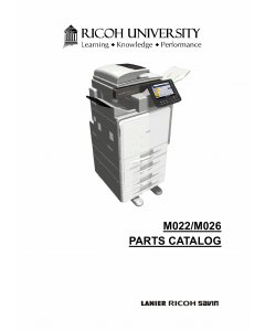 RICOH Aficio MP-C300 C400 M022 M026 Parts Catalog