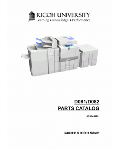 RICOH Aficio MP-C6501SP C7501SP D081 D082 Parts Catalog