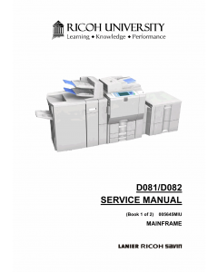 RICOH Aficio MP-C6501SP C7501SP D081 D082 Service Manual