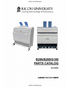 RICOH Aficio MP-W2400 W3600 SP-W2470 B286 B289 G180 Parts Catalog