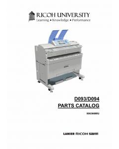 RICOH Aficio MP-W2401 W3601 D093 D094 Parts Catalog