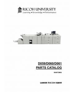 RICOH Aficio Pro-907EX 1107EX 1357EX D059 D060 D061 Parts Catalog