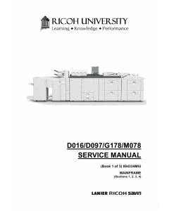 RICOH Aficio Pro-C720s C900s C900 C720 D016 D097 G178 M078 Service Manual