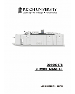 RICOH Aficio Pro-C900 C900s D016 G178 Parts Service Manual