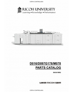 RICOH Aficio Pro-C900s C720s C900 C720 D016 D097 G178 M078 Parts Catalog