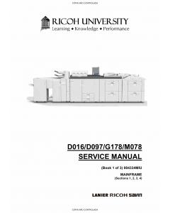 RICOH Aficio Pro-C900s C720s C900 C720 D016 D097 G178 M078 Service Manual
