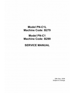 RICOH Aficio SP-1000S 1000SF B299 B279 Service Manual