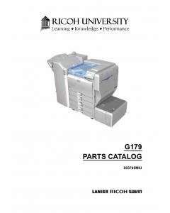 RICOH Aficio SP-8200DN G179 Parts Catalog