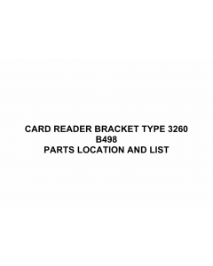RICOH Options B498 CARD-READER-BRACKET-TYPE-3260 Parts Catalog PDF download