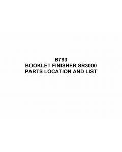RICOH Options B793 BOOKLET-FINISHER-SR3000 Parts Catalog PDF download