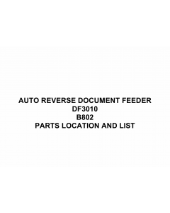 RICOH Options B802 AUTO-REVERSE-DOCUMENT-FEEDER Parts Catalog PDF download
