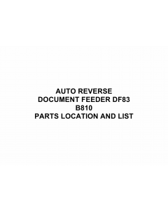 RICOH Options B810 AUTO-REVERSE-DOCUMENT-FEEDER-DF83 Parts Catalog PDF download