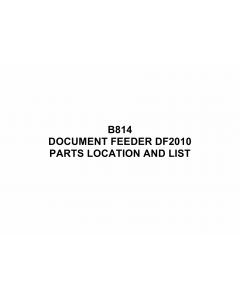 RICOH Options B814 DOCUMENT-FEEDER-DF2010 Parts Catalog PDF download