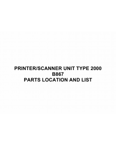 RICOH Options B867 PRINTER-SCANNER-UNIT-TYPE-2000 Parts Catalog PDF download