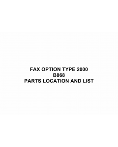 RICOH Options B868 FAX-OPTION-TYPE-2000 Parts Catalog PDF download