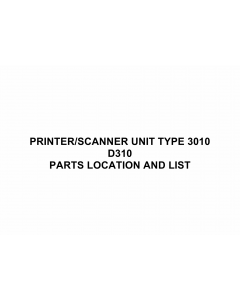 RICOH Options D310 PRINTER-SCANNER-UNIT-TYPE-3010 Parts Catalog PDF download