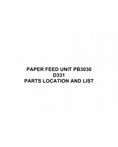RICOH Options D331 PAPER-FEED-UNIT-PB3030 Parts Catalog PDF download