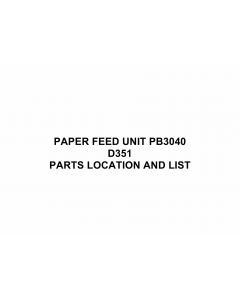 RICOH Options D351 PAPER-FEED-UNIT-PB3040 Parts Catalog PDF download