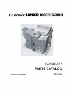 RICOH Options G080 G367 Parts Catalog PDF download
