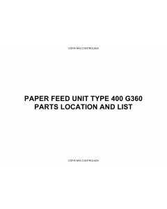 RICOH Options G360 PAPER-FEED-UNIT Parts Catalog PDF download