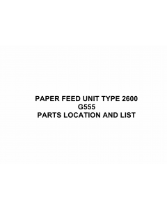 RICOH Options G555 PAPER-FEED-UNIT-TYPE-2600 Parts Catalog PDF download