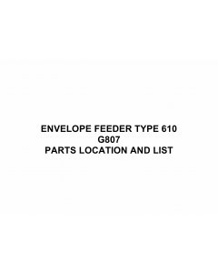 RICOH Options G807 ENVELOPE-FEEDER-TYPE-610 Parts Catalog PDF download